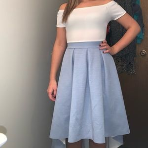 Baby blue high low off the shoulder dress